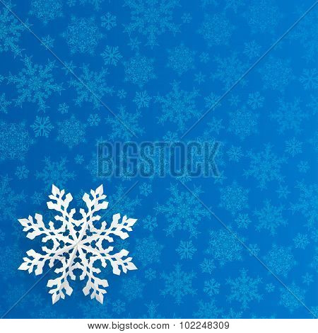Christmas Background With Paper Snowflake