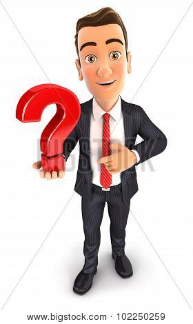 3d businessman holds a question mark