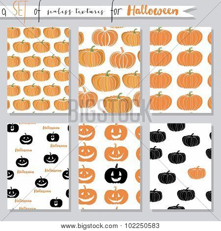 Vector set of seamless textures with pumpkins. Halloween party