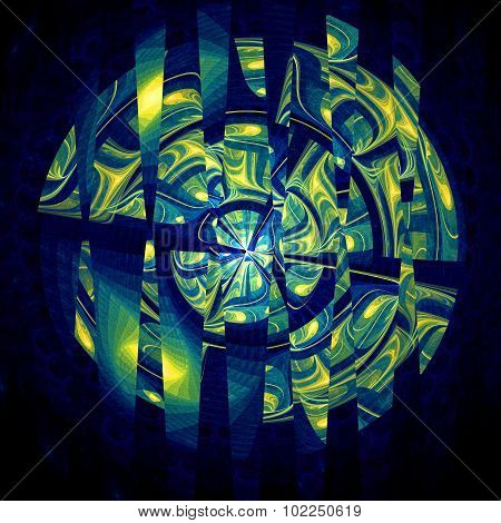Abstract Yellow And Blue Distort Sphere Fractal
