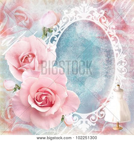 Holiday Tender Floral Pink Card With Roses, Mirror And Text.