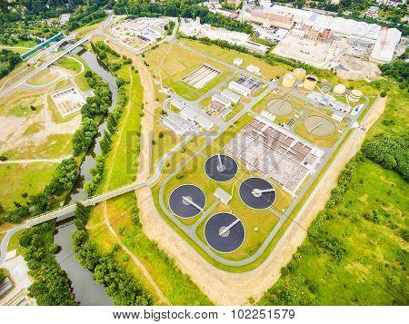 Aerial view of public sewage treatment plant for 165, 000 inhabitants of Pilsen city in Czech Republic, Europe.