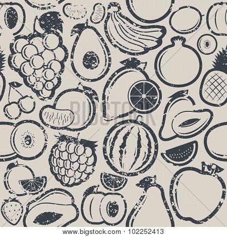 Fruits Retro Styled Grungy Seamless Pattern