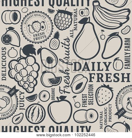 Typographic Vector Fruits Seamless Pattern Or Background