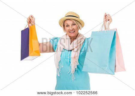 Creative concept for retired senior woman