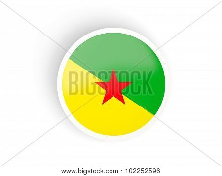 Round Sticker With Flag Of French Guiana