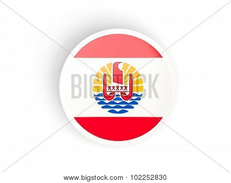 Round Sticker With Flag Of French Polynesia