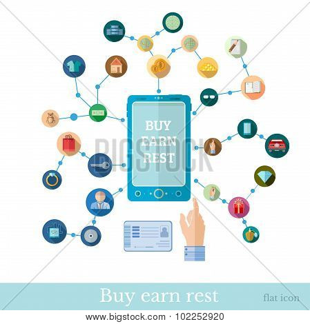 Flat design marketing illustration with set of icons for E-shoping and business operationput with ph