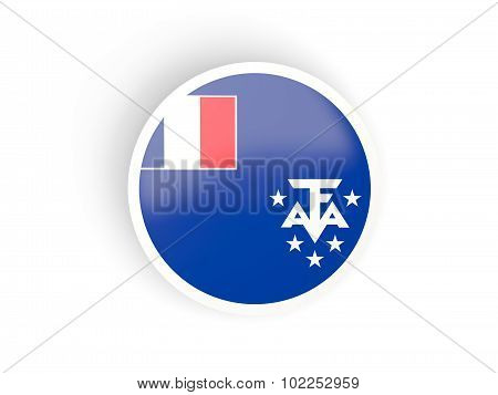 Round Sticker With Flag Of French Southern Territories