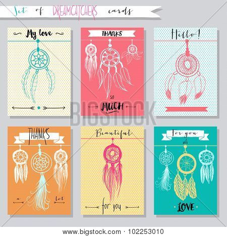 Vector hand drawn set of illustrations with dream catchers