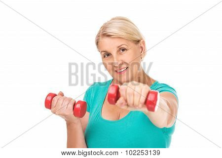 Concept for retired senior woman working out