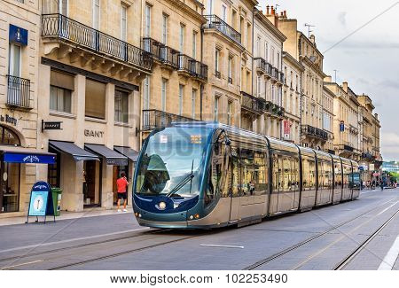 Bordeaux, France - June 12: Alstom Citadis 402 Tram On June 12, 2015 In Bordeaux, France. This Secti