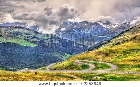View Of Port D'envalira (2408 M) Mountain Pass In Andorra