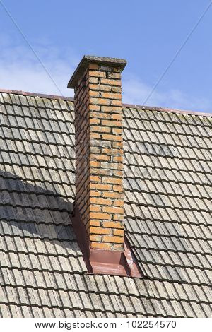 brick chimney on the roof