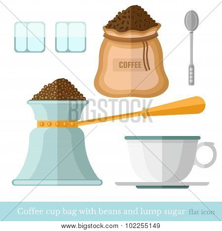flat coffee cup bag spoon lump sugar coffee beans turk on white