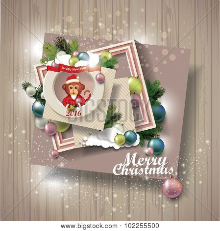 merry christmas on wooden texture. scrapbook elements