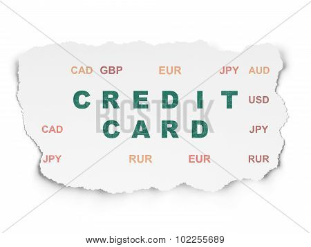 Currency concept: Credit Card on Torn Paper background