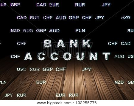 Currency concept: Bank Account in grunge dark room