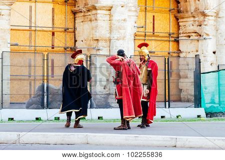 Rome, Italy - October 30: Entertainers Dressed As Roman Soldiers From The Roman Empire In Streets Of