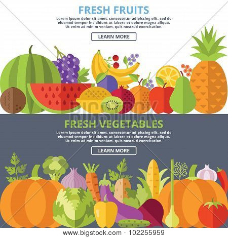 Fresh fruits and vegetables flat illustration concepts set