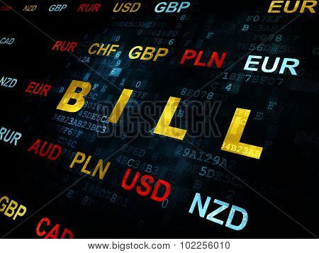 Currency concept: Bill on Digital background