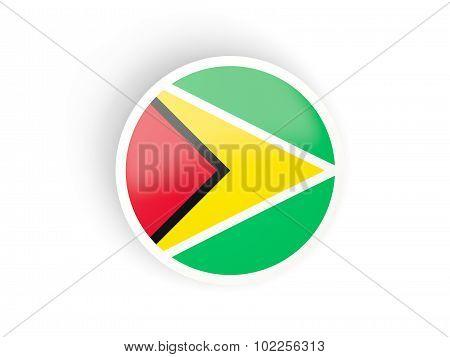 Round Sticker With Flag Of Guyana