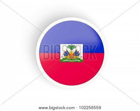 Round Sticker With Flag Of Haiti