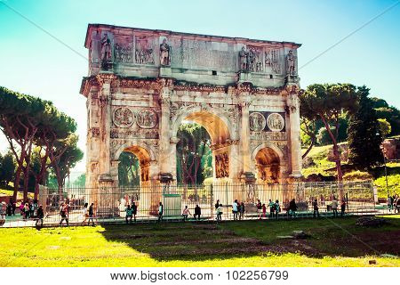 Rome, Italy - October 30: Tourists Visits The Famous Arch Of Constantine In Rome, Italy On October 3