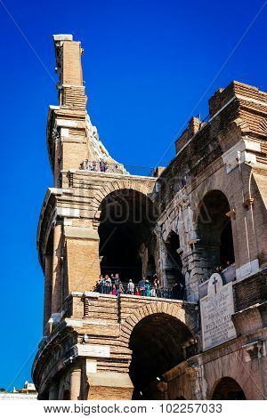 Rome, Italy - October 30: Tourists Take A Tour Of The Famous Colosseum In Rome, Italy On October 30,