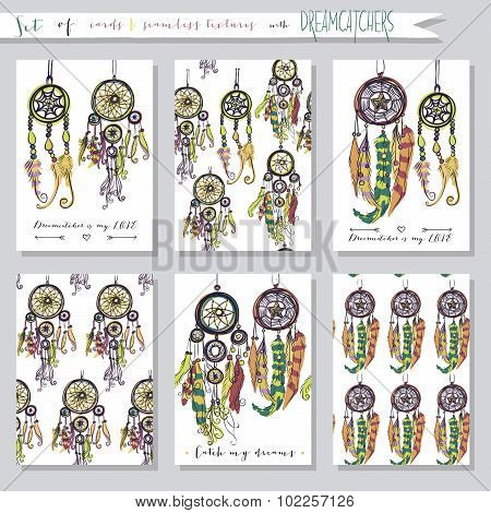 Set of seamless vector illustrations and cards with dream catchers