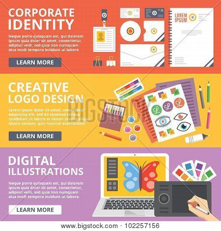 Corporate identity, logo design, digital illustrations flat illustration concepts set
