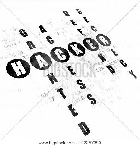 Privacy concept: Hacker in Crossword Puzzle