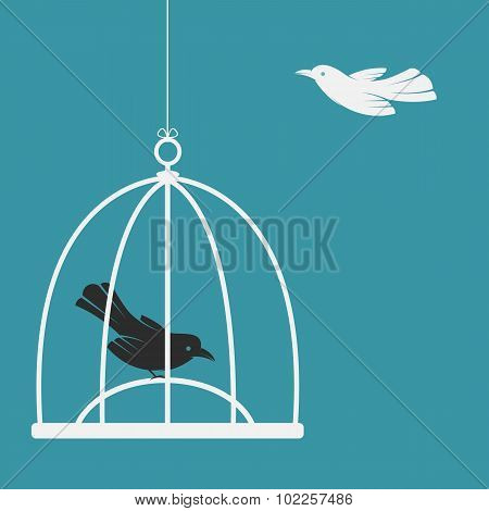 Vector Image Of A Bird In The Cage And Outside The Cage. Freedom Concept