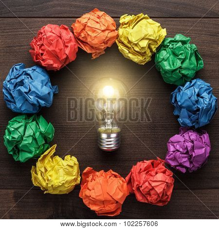 best idea concept with crumpled colorful paper circle