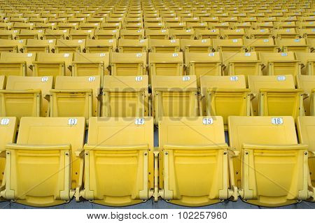 Yellow  stadium seats on the stadium sport