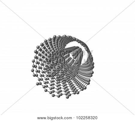 Isolated illustration of DWNT carbon nanotube. 3d illustration.