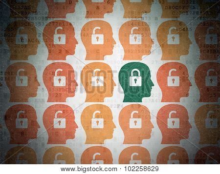 Security concept: head with padlock icon on Digital Paper background