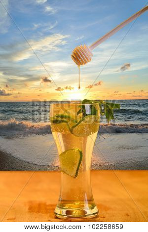 Mix Lemon Juice With Honey Background Evening Sky