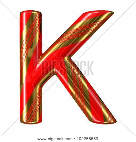 Mint hard candy cane 3d alphabet collection striped in Christmas colours. Letter K.