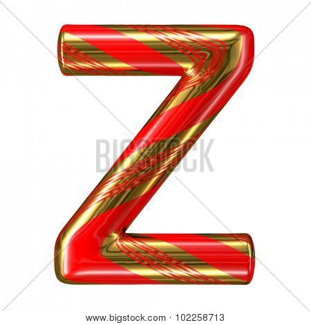 Mint hard candy cane 3d alphabet collection striped in Christmas colours. Letter Z.