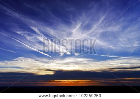 Beautiful Sunset Panoramic View, Alsace