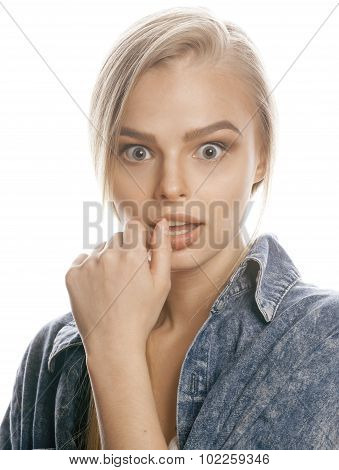 young blond woman on white backgroung gesture thumbs up, isolated