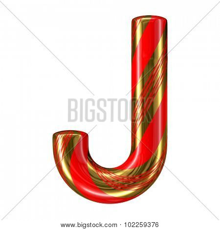 Mint hard candy cane 3d alphabet collection striped in Christmas colours. Letter J.