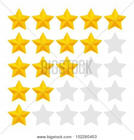Five Rating Stars on White Background. Vector