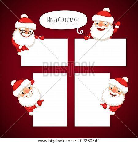 Set of Cartoon Santa Clauses Behind a White Empty Sheet
