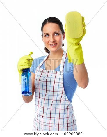 Maid woman with sponge and spray. House cleaning service concept.