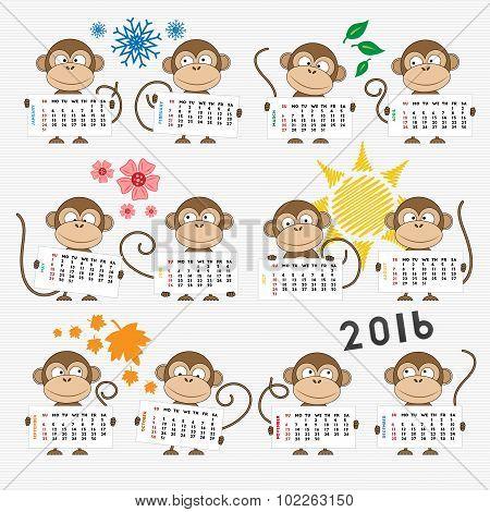 Calendar 2016 With Cute Monkeys