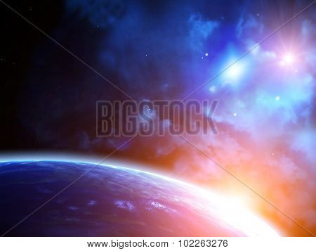 A beautiful space scene with sun, planets and nebula. Elements of this image furnished by NASA