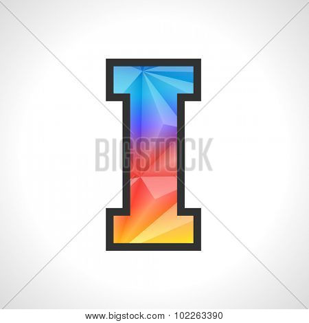 Vector Geometric Gradient Design Triangular Polygonal Font. Children style Letter I