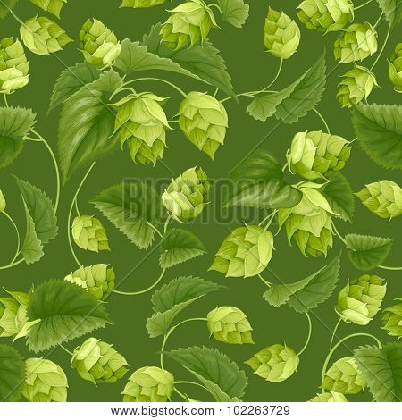 Seamless pattern with green hops and leaves. Vector illustration.